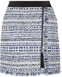 blauer Tweed Minirock mit Fransen von Karl Lagerfeld