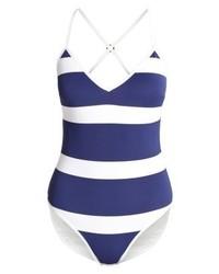 blauer horizontal gestreifter Badeanzug