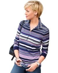 blauer horizontal gestreifter Pullover mit einem Reißverschluss am Kragen von COLLECTION L.