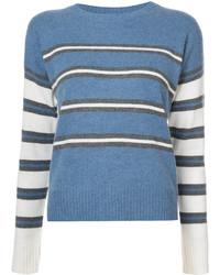 blauer horizontal gestreifter Pullover mit einem Rundhalsausschnitt