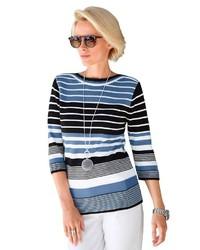 blauer horizontal gestreifter Pullover mit einem Rundhalsausschnitt von COLLECTION L.