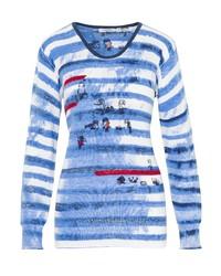 blauer horizontal gestreifter Pullover mit einem Rundhalsausschnitt von Hajo