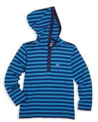 blauer horizontal gestreifter Pullover mit einer Kapuze