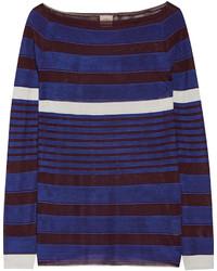 blauer horizontal gestreifter Pullover von Tod's