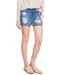 blauer Jeans Minirock mit Destroyed-Effekten