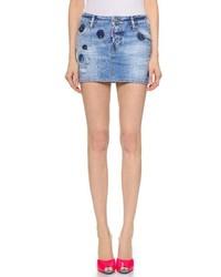 blauer Jeans Minirock mit Destroyed-Effekten von Dsquared2