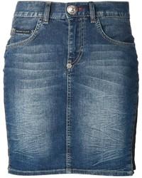 blauer Jeans Minirock von Philipp Plein