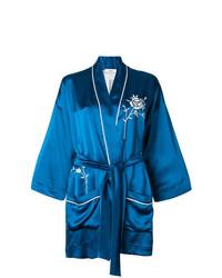 blauer Kimono mit Blumenmuster von Forte Forte