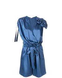 blauer kurzer Jumpsuit aus Seide von Lanvin