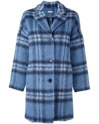 blauer Mantel mit Karomuster