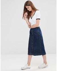 blauer Midirock aus Jeans von Only