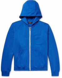 blauer Pullover mit einem Kapuze