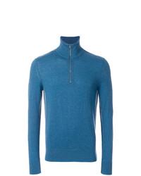 blauer Pullover mit einem Reißverschluss am Kragen von Burberry