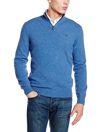 blauer Pullover mit einem Reißverschluss am Kragen von Hackett London