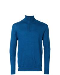 blauer Pullover mit einem Reißverschluss am Kragen von N.Peal