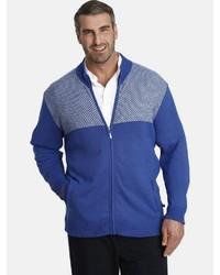 blauer Pullover mit einem Reißverschluß von Charles Colby