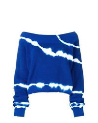 blauer Pullover mit einem Rundhalsausschnitt mit Batikmuster