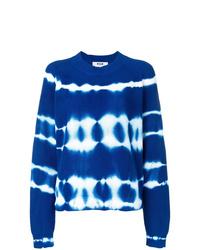 blauer Mit Batikmuster Pullover mit einem Rundhalsausschnitt von MSGM