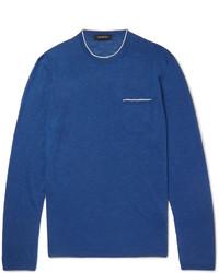 blauer Pullover mit einem Rundhalsausschnitt