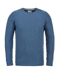 blauer Pullover mit einem Rundhalsausschnitt von BLEND