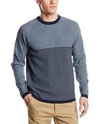 blauer Pullover mit einem Rundhalsausschnitt von Crew Clothing