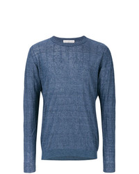 blauer Pullover mit einem Rundhalsausschnitt von Golden Goose Deluxe Brand