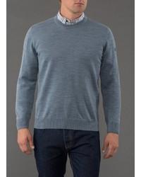 blauer Pullover mit einem Rundhalsausschnitt von MAERZ Muenchen