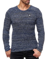 blauer Pullover mit einem Rundhalsausschnitt von Redbridge