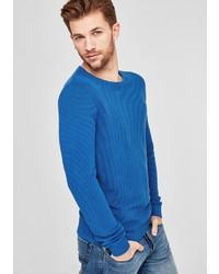 blauer Pullover mit einem Rundhalsausschnitt von S.OLIVER RED LABEL
