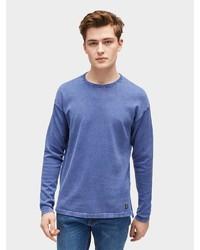 blauer Pullover mit einem Rundhalsausschnitt von Tom Tailor Denim