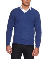 blauer Pullover mit einem V-Ausschnitt von Alan Paine