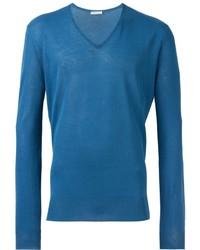 blauer Pullover mit einem V-Ausschnitt von Boglioli
