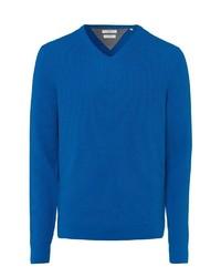 blauer Pullover mit einem V-Ausschnitt von Brax