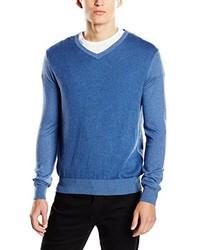 blauer Pullover mit einem V-Ausschnitt von Cortefiel