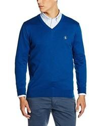 blauer Pullover mit einem V-Ausschnitt von El Ganso