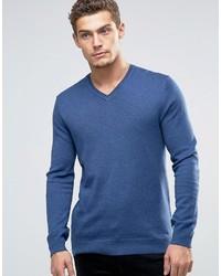 blauer Pullover mit einem V-Ausschnitt von Esprit