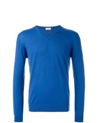 blauer Pullover mit einem V-Ausschnitt von Fashion Clinic Timeless