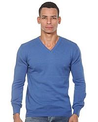 blauer Pullover mit einem V-Ausschnitt von FIOCEO