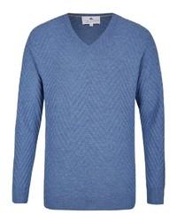 blauer Pullover mit einem V-Ausschnitt von Hajo