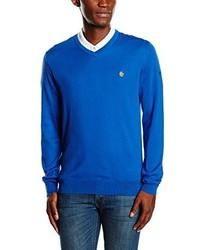 blauer Pullover mit einem V-Ausschnitt von Lyle & Scott
