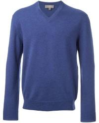 blauer Pullover mit einem V-Ausschnitt von N.Peal
