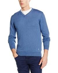 blauer Pullover mit einem V-Ausschnitt von Scalpers