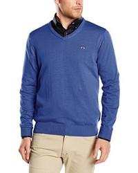 blauer Pullover mit einem V-Ausschnitt von Spagnolo