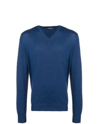 blauer Pullover mit einem V-Ausschnitt von Tagliatore