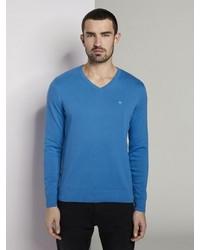 blauer Pullover mit einem V-Ausschnitt von Tom Tailor