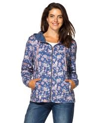 blauer Pullover mit einer Kapuze mit Blumenmuster von SHEEGO CASUAL