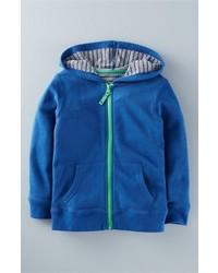 blauer Pullover mit einer Kapuze