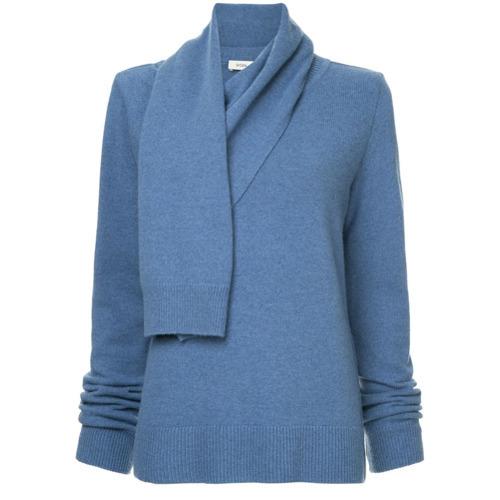 blauer Pullover mit einer weiten Rollkragen von Goen.J
