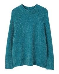 blauer Pullover mit einem Rundhalsausschnitt von Mango