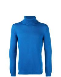 blauer Rollkragenpullover